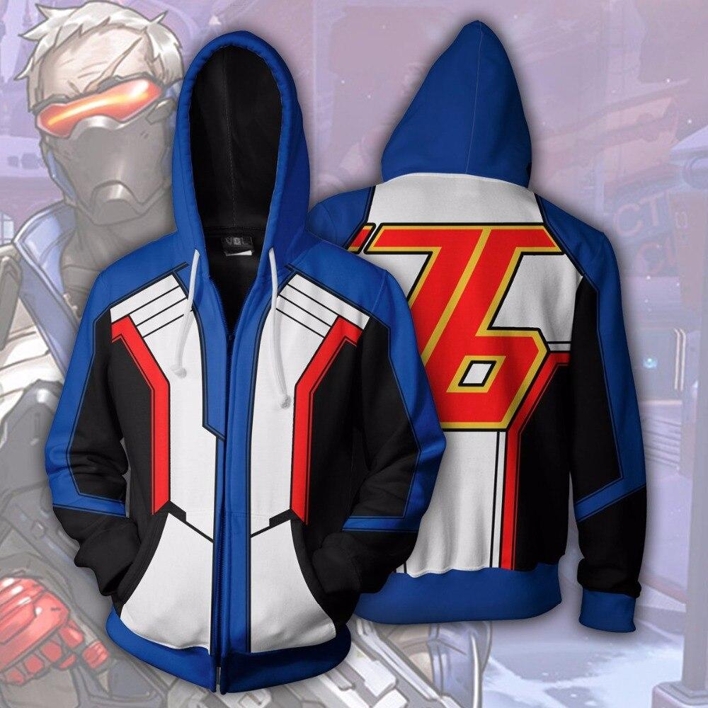 3d Digital Printing Overwatch SOLDIER 76 Jack Morrison Hoodie Sweatshirt Cosplay Costume Women Men Couple Hood Top Clothing New