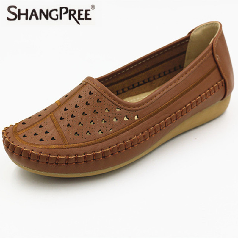 2017 Women Flats Leather Shoes Mother Non-Slip Soft Leisure Boat Shoes Female Flats Driving Women Shoe Casual Footwear cresfimix zapatos women cute flat shoes lady spring and summer pu leather flats female casual soft comfortable slip on shoes
