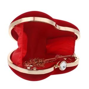 Image 4 - SEKUSA Velluto acrilico diamanti a forma di cuore rosso/nero borse da sera mini borsa della frizione con la catena della spalla del sacchetto di sera per da sposa