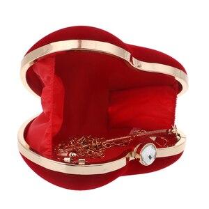 Image 4 - Sekusa veludo acrílico diamantes em forma de coração vermelho/preto sacos de noite mini bolsa embreagem com corrente ombro saco de noite para o casamento