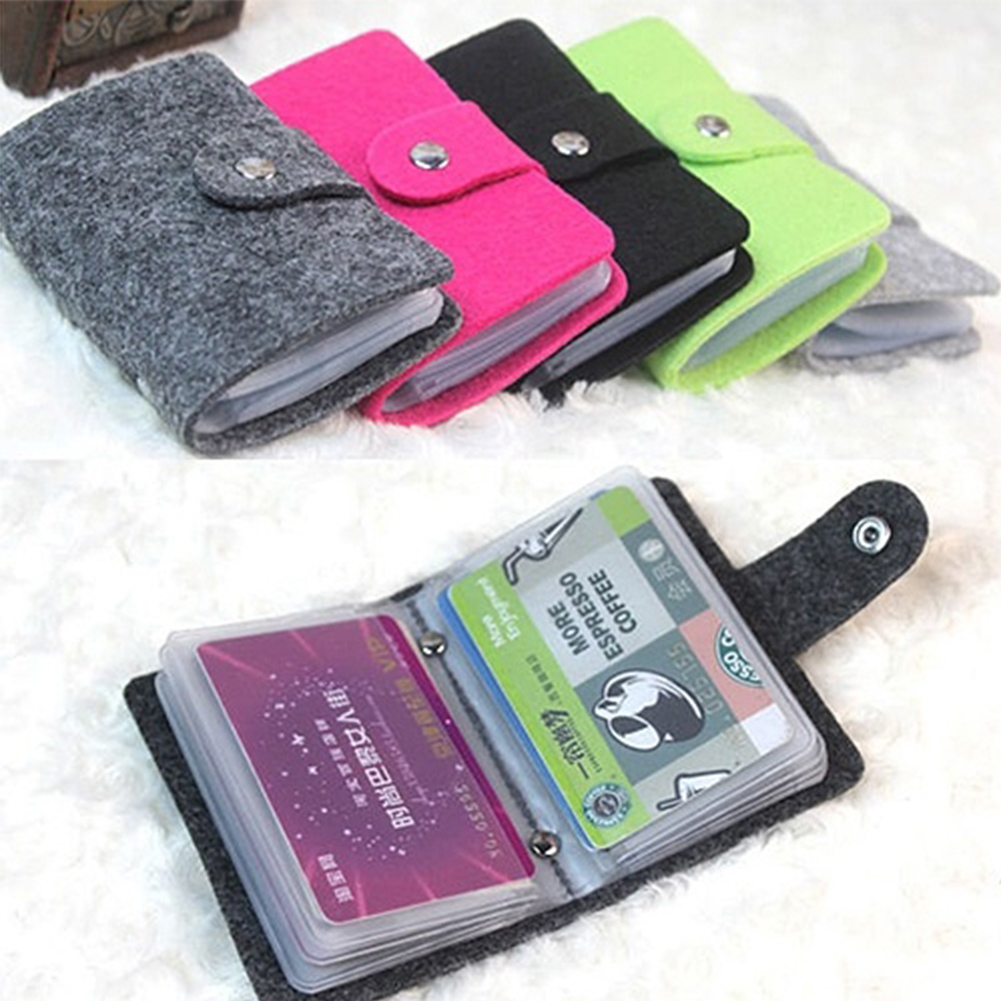 High Quality Card Holder Fashion 24 Bits Useful Business Credit Case PU Leather Buckle Card Organizer For Women
