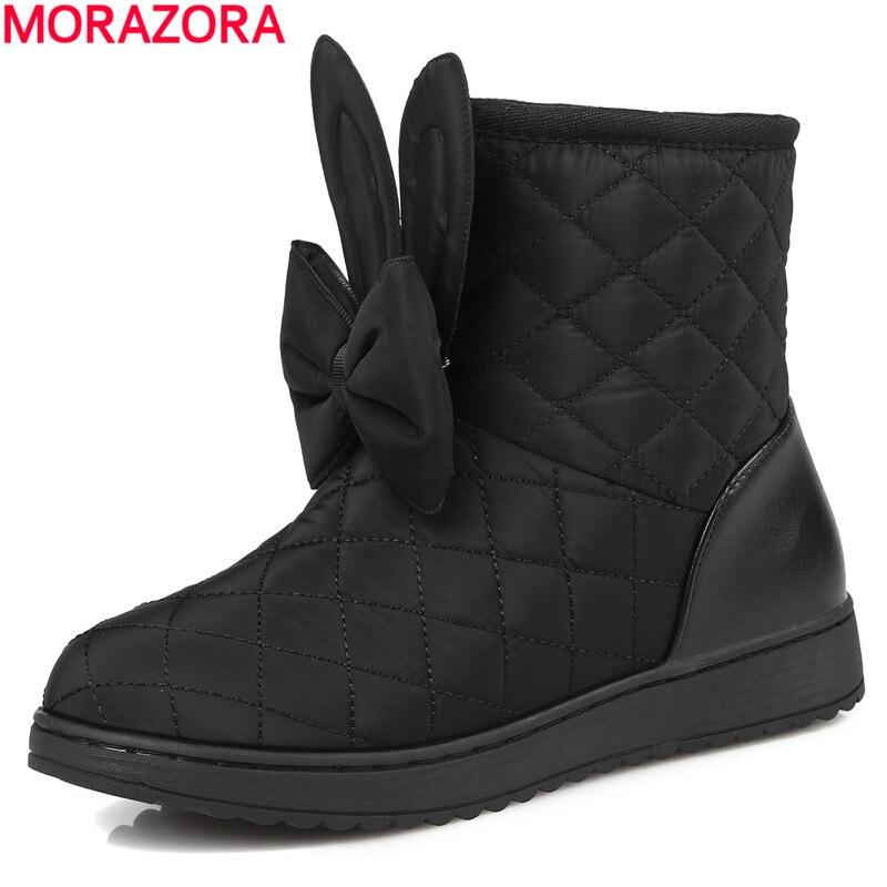 84533dfe746e Morazora 2018 г. новые российские зимние теплые зимние ботинки с круглым  носком ботильоны женская обувь с бантом Милая обувь для девочек