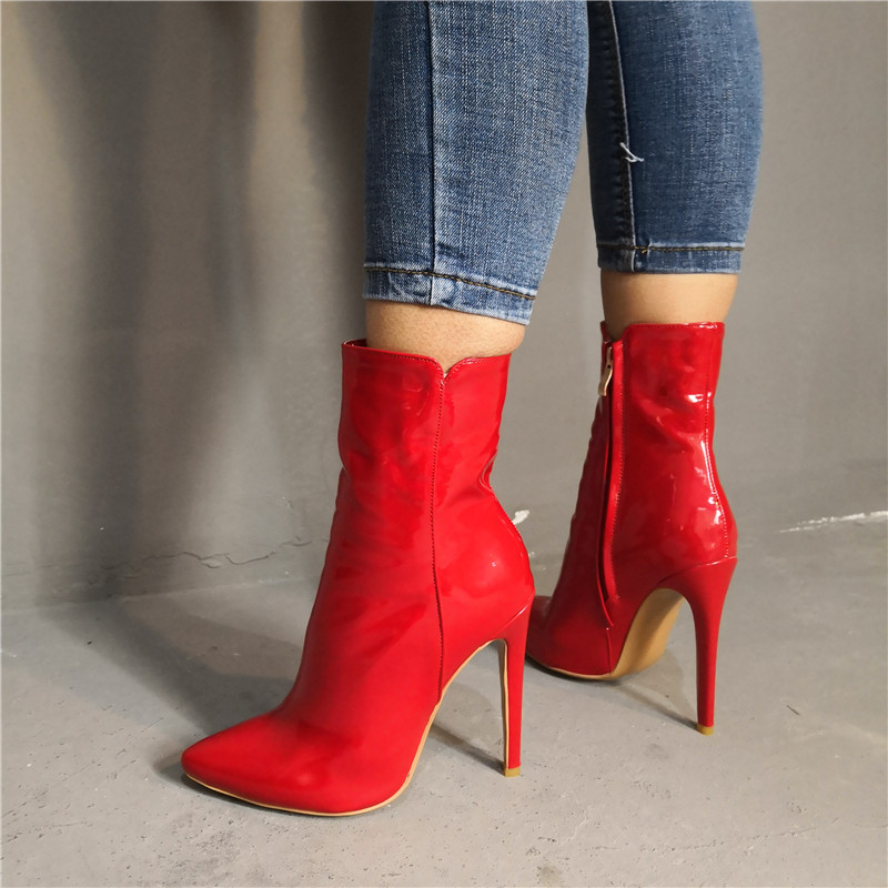 ARQA  2019 Fashion Red Women Short Boots Winter Autumn High Heels Shoes Pointed Toe Shoes Woman Patent Leather BootsARQA  2019 Fashion Red Women Short Boots Winter Autumn High Heels Shoes Pointed Toe Shoes Woman Patent Leather Boots