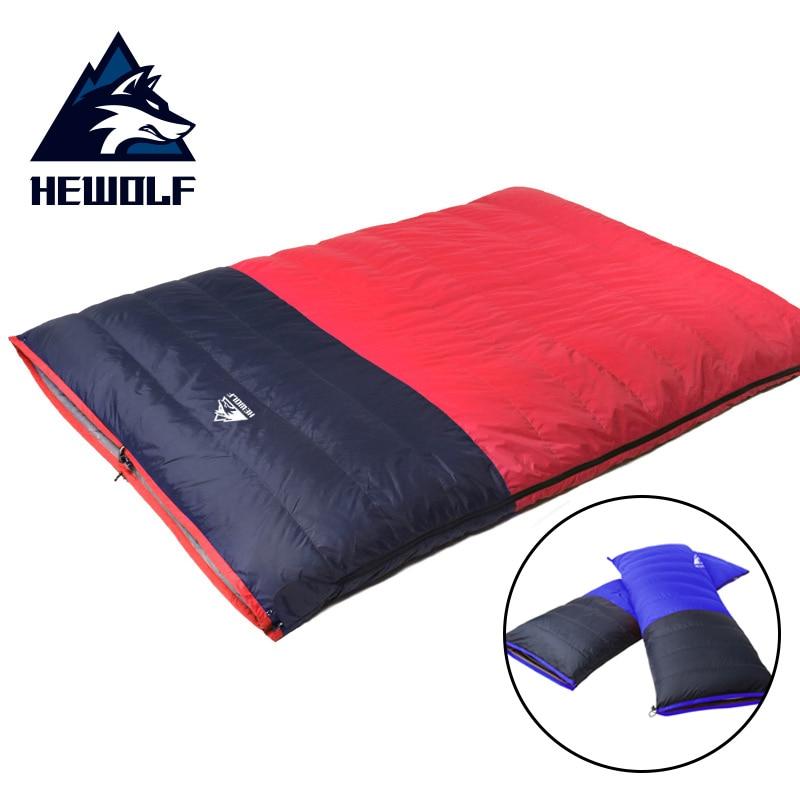 Hewolf 2 in 1 Detachable Camping Sleeping Bags Duck Down Keep Warm Outdoor Camp Hiking Travel