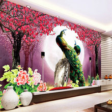 Custom 3D Photo Wallpaper Peacock Moon Flowers Living Room Sofa TV Background Home Decoration Wall Art Mural Painting Wall Paper(China)