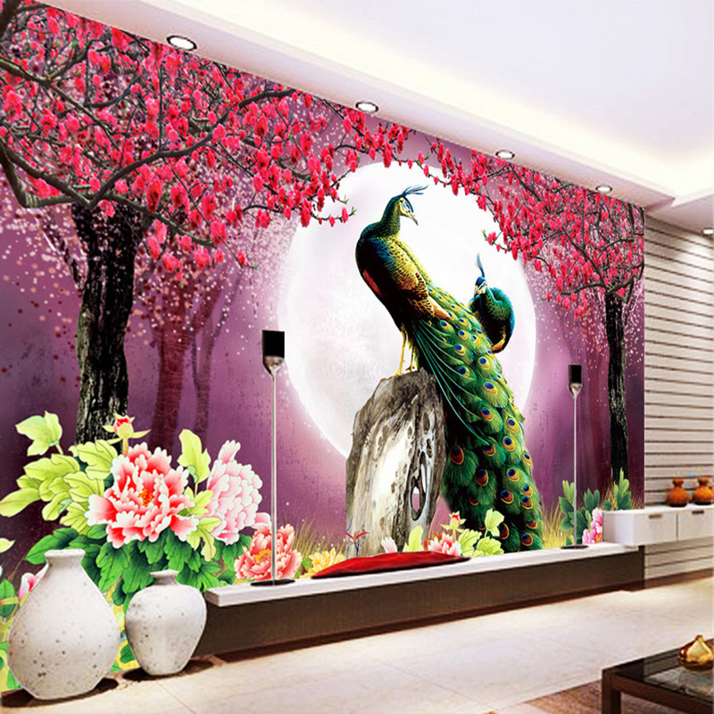 Custom 3D Photo Wallpaper Peacock Moon Flowers Living Room