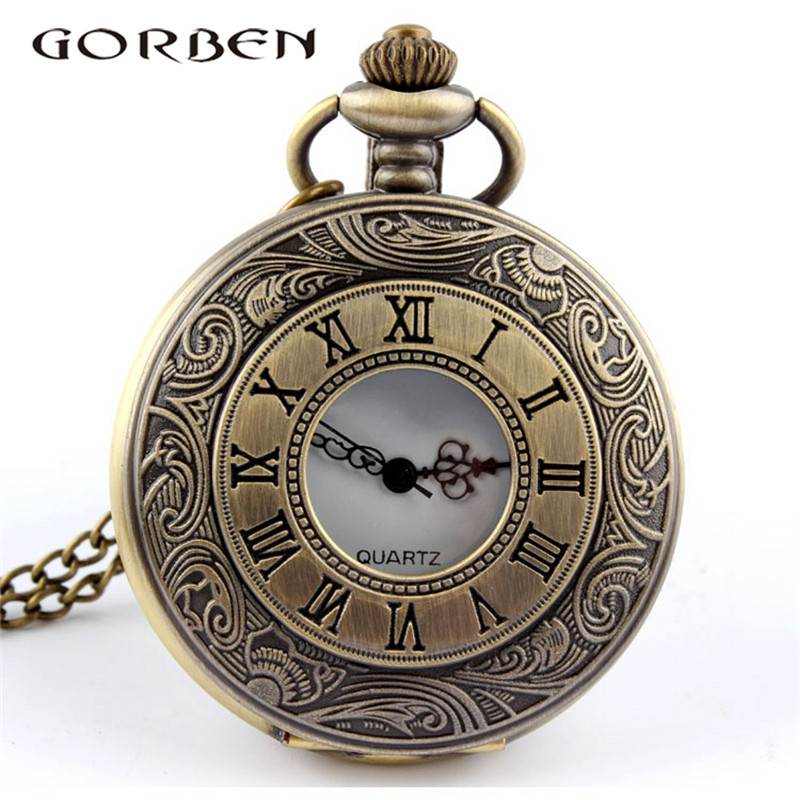Classical Antique Roman Numerals Pocket Watch Empty Circle Surface Quartz Pocket Watch With Chain Hollow Out Unisex Watches