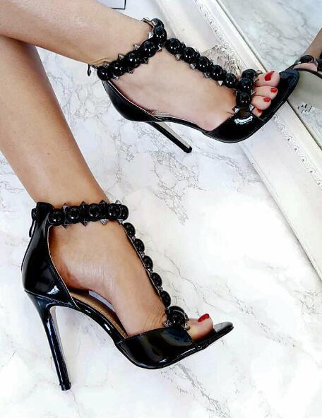 Moraima Snc Woman T-strap High Heel Sandal Patent Leather Rivets Studded Thin Heels Shoes Summer Open Toe Stiletto PumpsMoraima Snc Woman T-strap High Heel Sandal Patent Leather Rivets Studded Thin Heels Shoes Summer Open Toe Stiletto Pumps