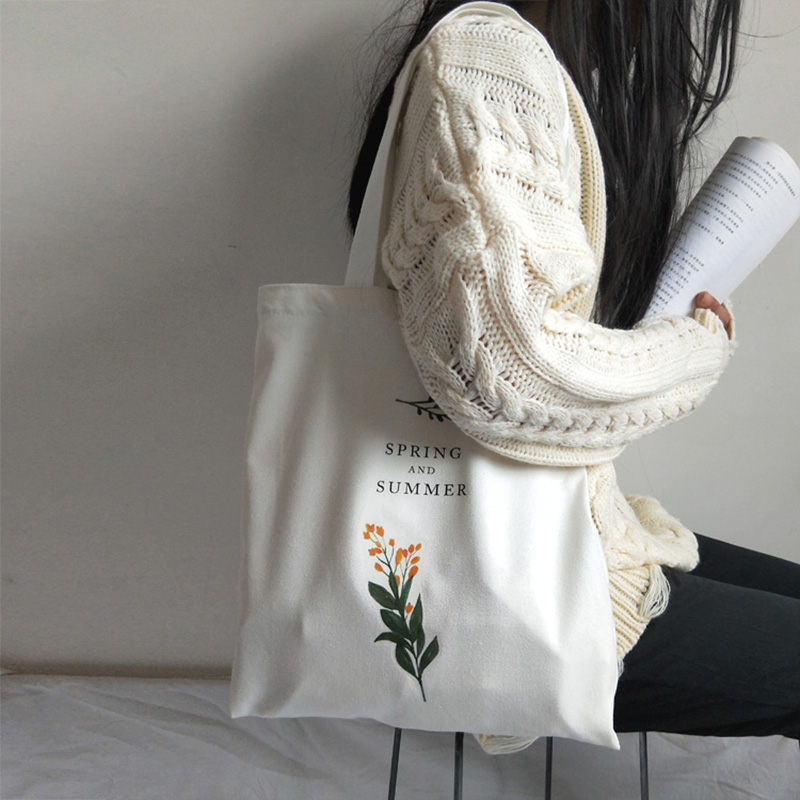 Women's Casual Canvas Shoulder Cloth Bag Flowers Printing Shopping Bag Cotton Lady Handbag Reusable Large Capacity Tote Bags