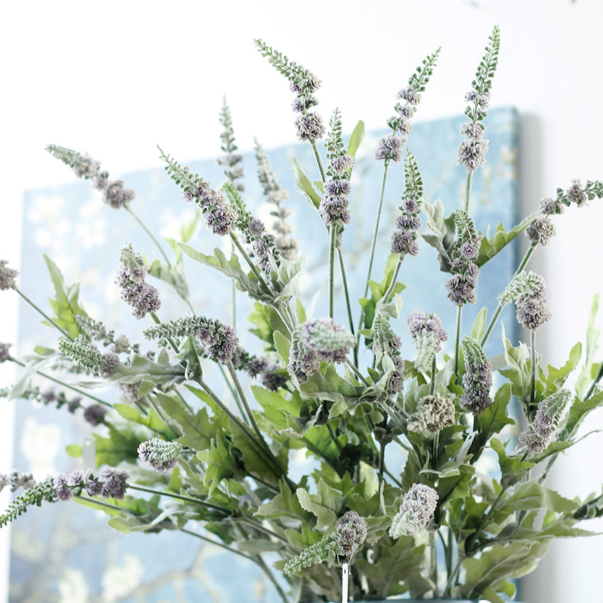 Vivid fuzzy Provence lavender decorative plastic Sage artificial flowers plants autumn home wedding decoration plant Wreaths