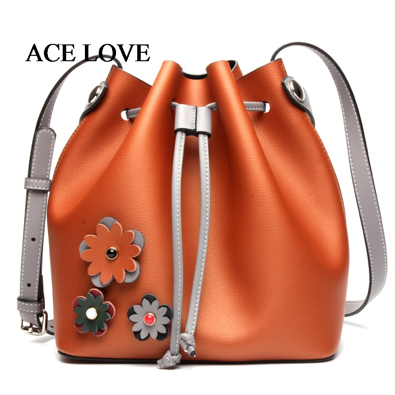 2017 New Arrival Leather Female Flowers Design Drawstring Bucket Messenger Bag Fashion Shoulder Tote Handbags youe shone 2017 leather bag strap flowers fashion female bag shoulder straps you handbags accessories with gift box jd009