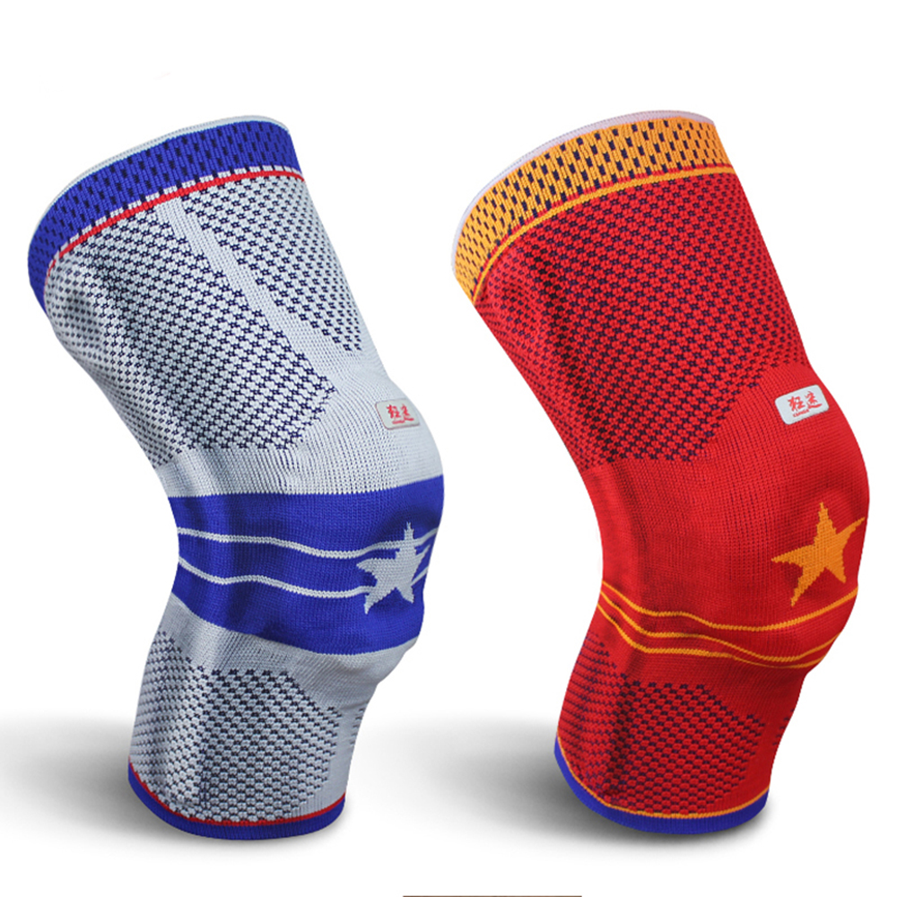 Kuangmi Spring Brace Silicone Knee Pad Basketball Knitted Compression Knee Sleeve Support Sports Breathable Sock Knee Proetctor spring compression spring extension torsion abrasives 300 0 5 5
