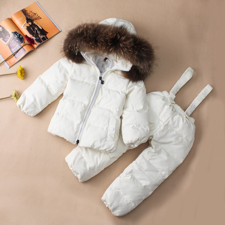 Kids Ski Suits Snow Suits For Girls Children Boys Snowsuit Down Cotton Jacket +Winter Overalls Child Winter Thicken Clothing 2016 new brand children snow runner self balance scooter snow bicycle for kids ski kits