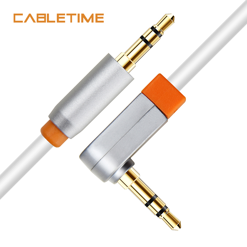 cabletime aux cable jack audio cable 90 degree 3 5 mm jack speaker cable for headphones. Black Bedroom Furniture Sets. Home Design Ideas