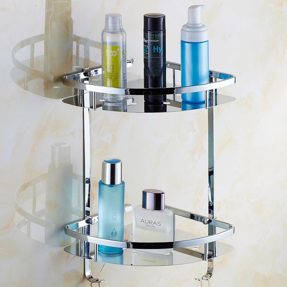 купить Contemporary Plating 304 Stainless Steel Corner Basket Polished Double Layer Bathroom Shelf Tripod Bathroom Accessories kf-081 по цене 8610.55 рублей