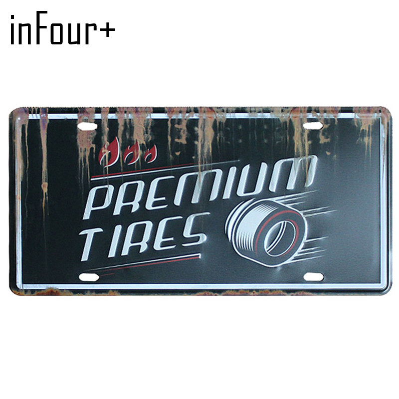 Hot Car Tires License Plate Metal Plate Car Number Tin Signs Bar Pub Cafe Home Decor Metal Sign Garage Painting Plaques Signs