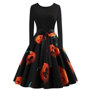 Halloween Pumpkins Print Dress Women Vintage Long Sleeve O-Neck Big Swing Party Club Skull Dresses For Women Robe Femme SJ203M