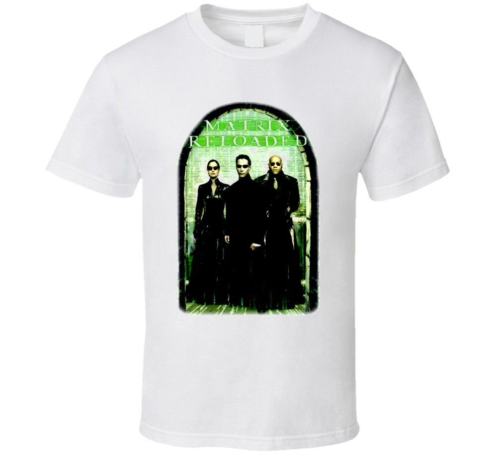 Quality Shirts New Style The Matrix Reloaded Movie Keanu Reeves T Shirt Men Funny casual streetwear hip hop printed T shirt