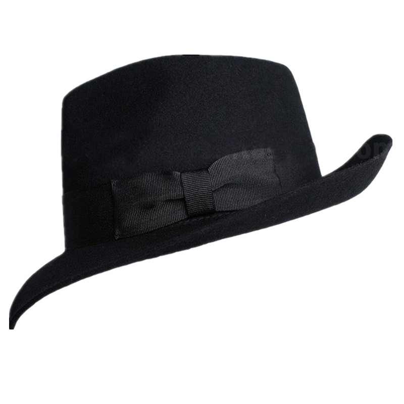 Haut Grade Laine Michael Jackson Feutrés Stade Concert De Danse Feutrés Classique Solide Noir À Large Bord Jazz Gentleman Chapeau