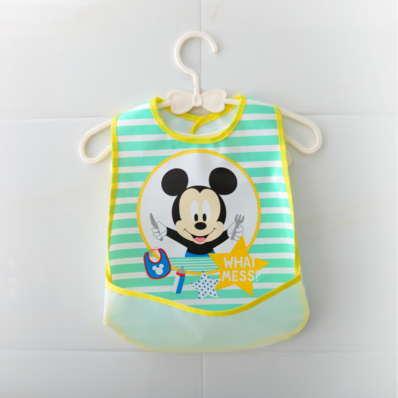 Disney Baby waterproof Rice Bib Feeding Baby Bibs For Lunch Baberos Bebes Cartoon Baby Clothing Baby Bibs Waterproof 0-2 Year