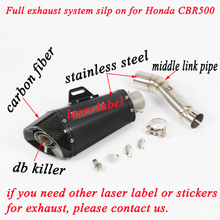 For Honda CBR500 CB500X CB500 Motorcycle Exhaust Muffler Pipe DB Killer With Stainless Steel Middle Section link Silencer System akrapovic motorcycle exhaust db killer exhaust muffler and stainless steel middle link pipe whole set for honda cbr500 300r