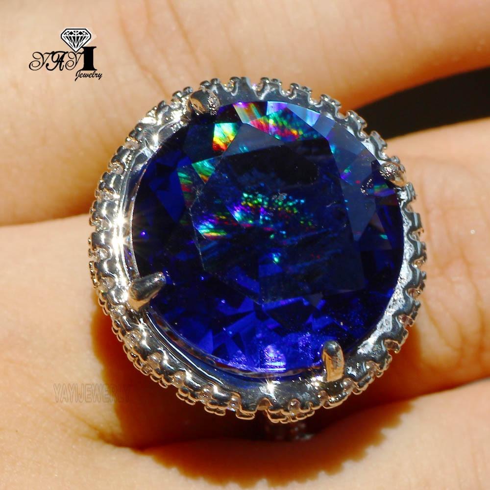 Ювелирные изделия YaYI Fashion Princess Cut 18 CT 18*18 мм, огромный синий циркониевый серебристый цвет, обручальные кольца с сердцем, кольца для подарка