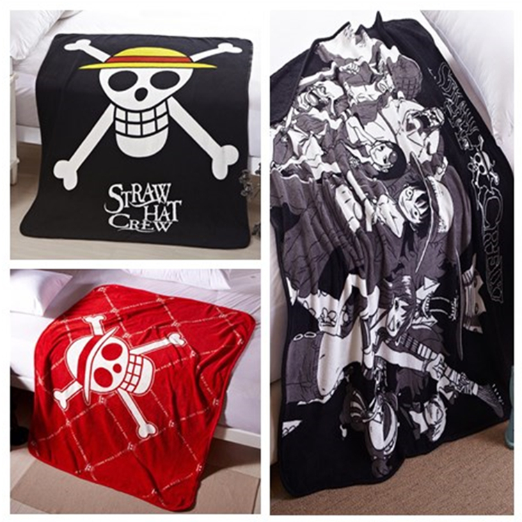 Anime One Piece Luffy Straw Hat Crew Blanket Soft Plush Coral Fleece Warm Rug Throw Blankets Warm Air Conditioning Quilt Cosplay