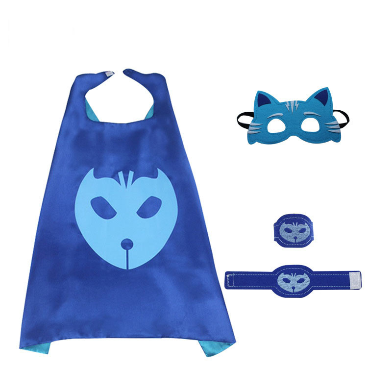 Pj Masks Costume Kids Catboy Owlette Gekko Cape With Masks Wristband Cartoon Superhero Cloak Cape Carnaval Costumes For Kids (5)