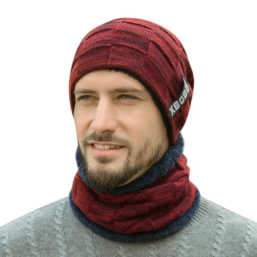 Теплая вязаная шапка, шарф, набор, меховая шерстяная подкладка, толстые теплые вязаные шапочки, Балаклава, зимняя шапка для мужчин и женщин, шапка Skullies Bonnet - Color: Red