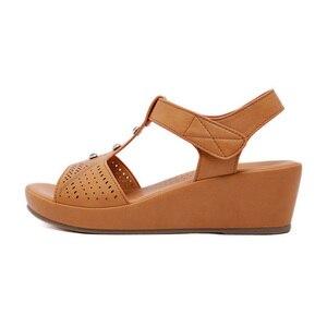Image 2 - BEYARNE2019 Summer Shoes Women Wedge Sandals Summer Ladies Wedges Shoes Casual Female Sandalias Plus SizeE579