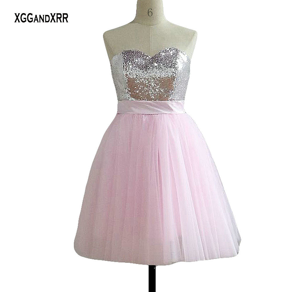 Offre spéciale rose bonbon courte robe de bal 2018 chérie hors épaule Sexy dos nu grand arc robe de retour robes de soirée robe de gala - 5