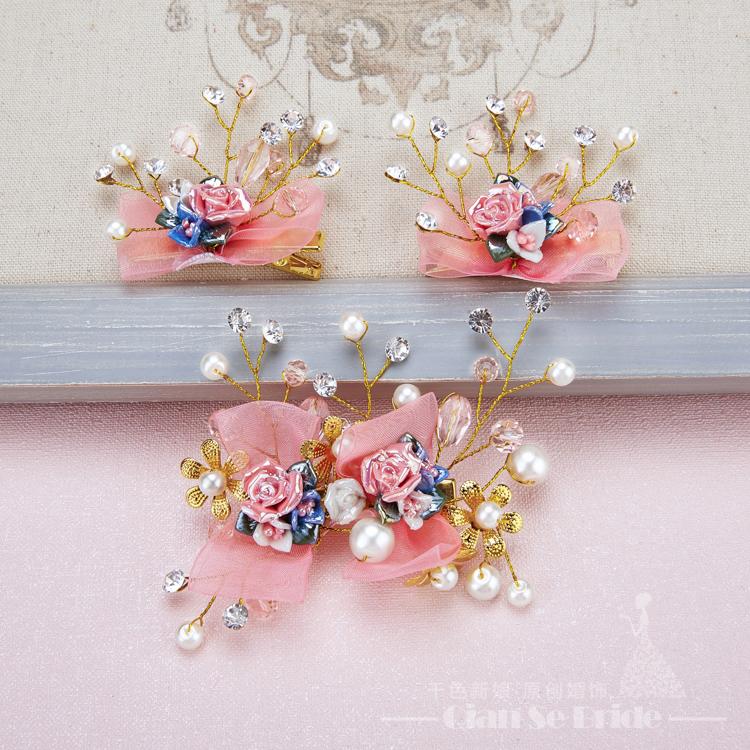 gorgeous mujeres joyera de perlas pinzas para el cabello horquillas florales de oro hairgrips adornos para