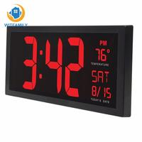 LED Digital Calendar clock with thermometer Daylight saving for kitchen mural 14inch Electronic wall clock Large screen desktop