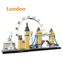 цена на Landmark building London Tower Bridge Big Ben Model Building Blocks Educational Children Toy Compatible with Lego