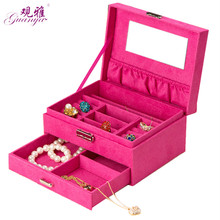 Wholesale and retail  high grade 634-A8 single pumping velvet rectangular ring jewelry box storage 5 color