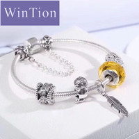 WinTion PAN 100% S925 Silver love yellow glass beaded feather pendant classic match finished bracelet Men and women style