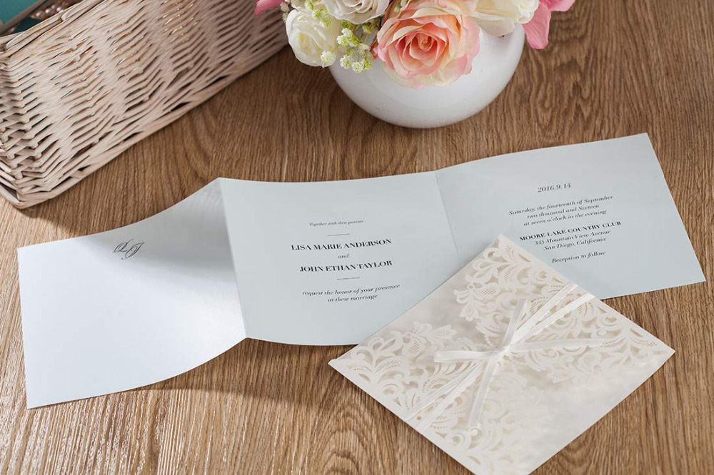 Wishmade Laser Cut Square Wedding Invitations with Bow Inserts and Envelopes Printable Invites Cards for Party Supplies 100pcs in Cards Invitations from Home Garden