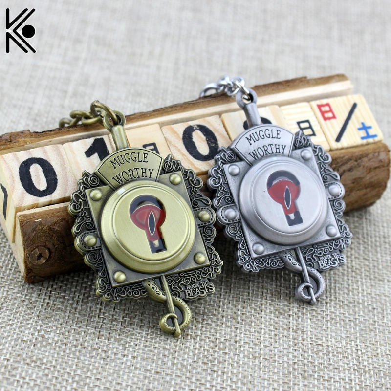 2Colors Fantastic Beasts And Where To Find Them Keychain New Arrival MUGGLE WORTHY Letter Logo Metal Keyring For Men Women Gift