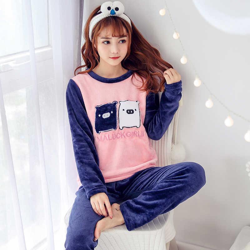 Плотная теплая фланелевая клетчатая Пижама, комплекты для женщин 2019, зимняя бархатная пижама с длинными рукавами кораллового цвета Милая одежда для сна, домашняя одежда