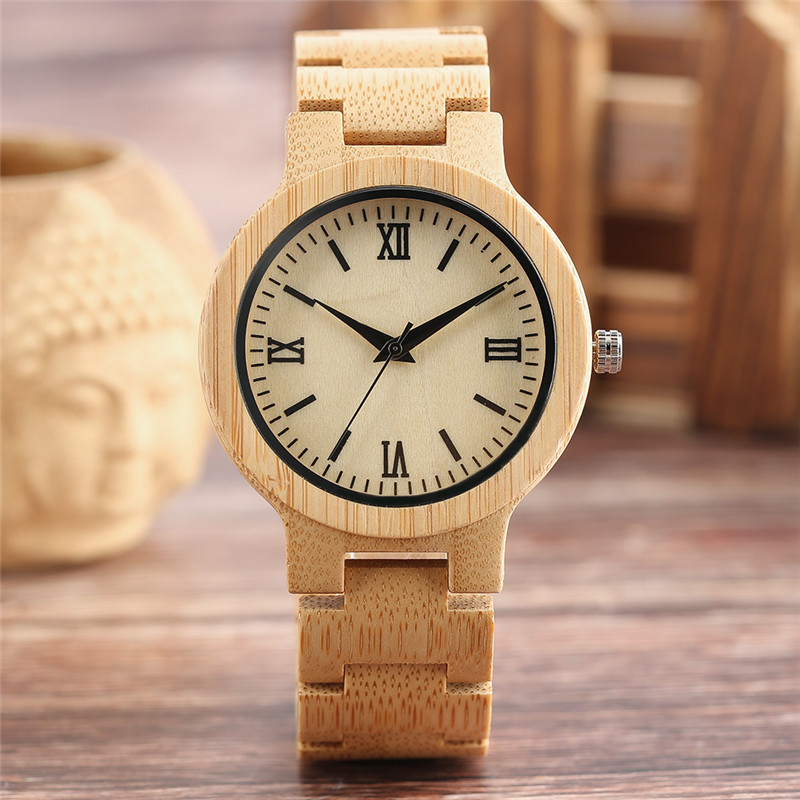 Concise Whole Wooden Watch Black Roman Numeral Dial Handmade Bamboo Bangle Luxury Men Women Wood Quartz Wristwatch Casual Clock fashion wooden band green silver concise dial wood quartz watch for men simple scale red black watchband wooden wristwatch male