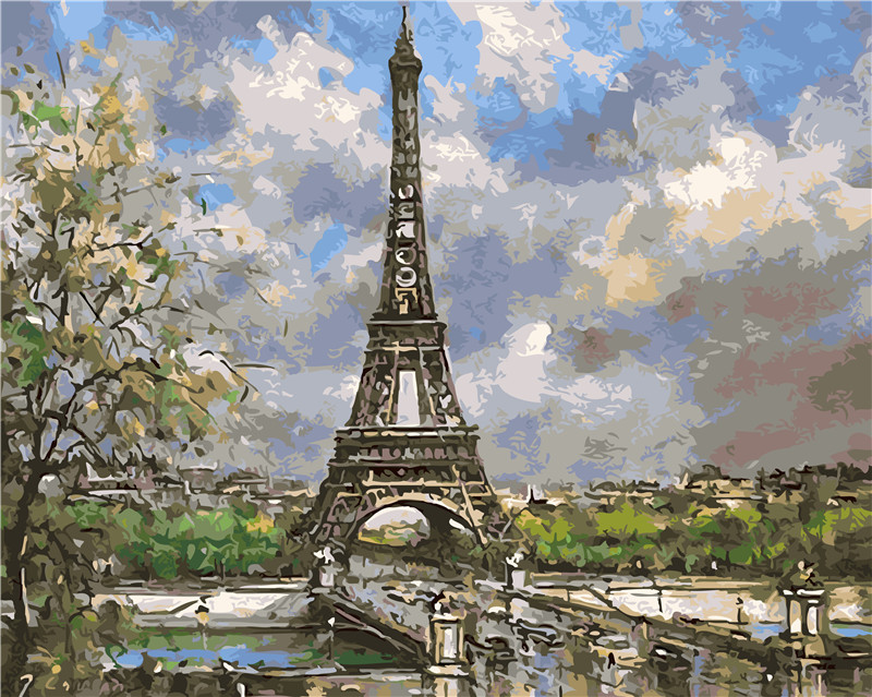 Spring in Paris Eiffel Tower Painting By Numbers Paint On Canvas Acrylic Coloring Painitng By Numbers For Home Wall Decoration