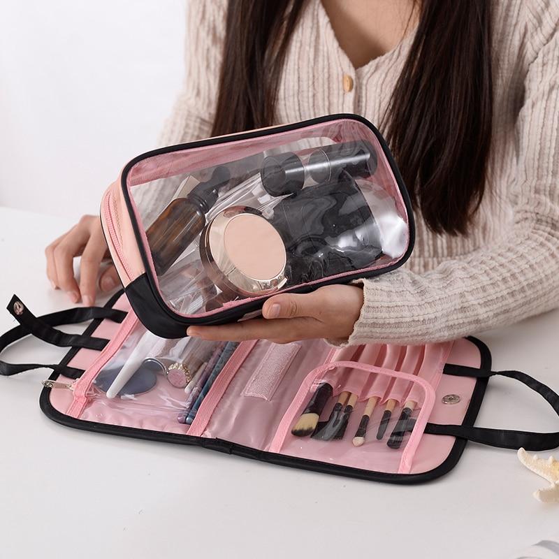 Moda feminina viagem saco de cosméticos dupla camada beleza zíper maquiagem caso bolsa organizador de higiene pessoal titular saco de lavagem compõem o saco