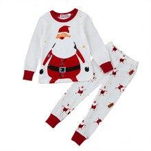 Комплект из 2 предметов; Рождественская одежда для маленьких мальчиков и девочек; От 2 до 3 лет; модная одежда для сна с рисунком+ штаны; Одежда для мальчиков; детская одежда для мальчиков