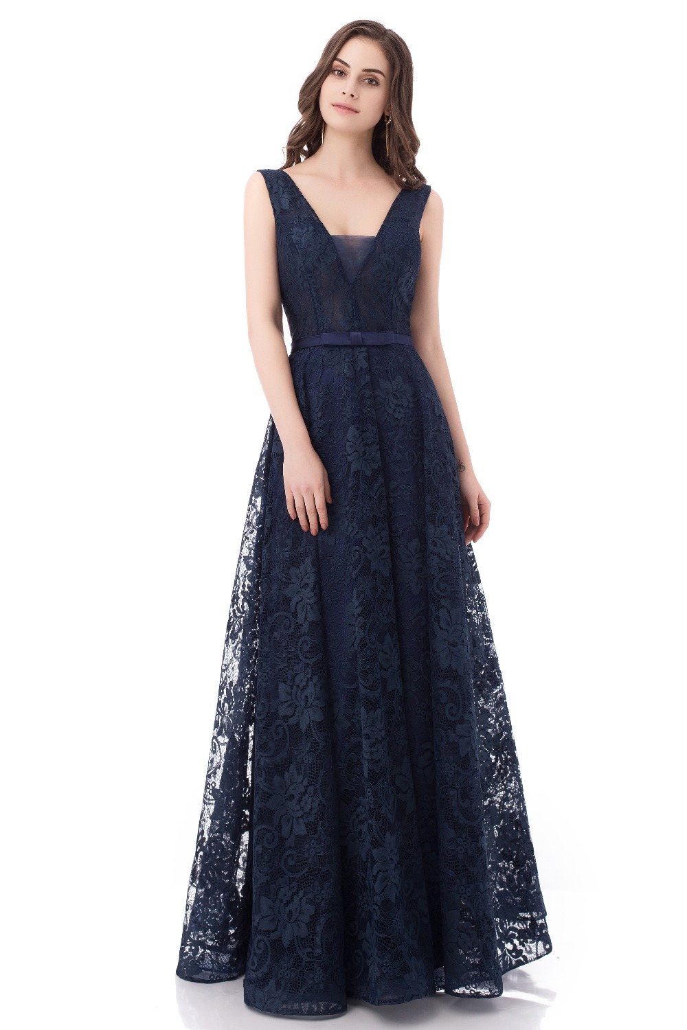 Aliexpress.com : Buy Navy Blue Lace Evening Dresses Long 2018 V Neck ...
