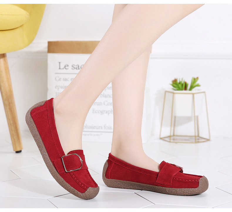 HX 7038-Spring Autumn Cow Suede Leather Women Flats-11