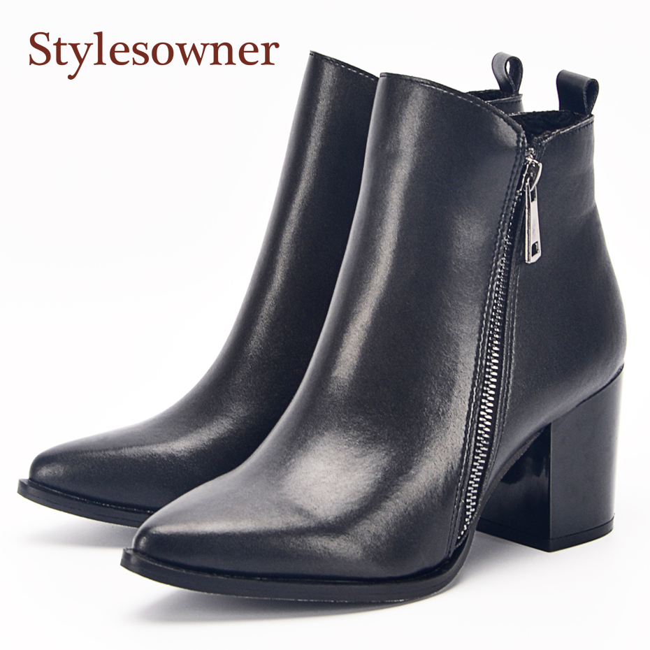 c31f317f665 Stylesowner Pointed Toe Chunky Heels Women Ankle Boots Black Leather Side  Zipper Chelsea Boots Warm Plush In Women Winter Shoes