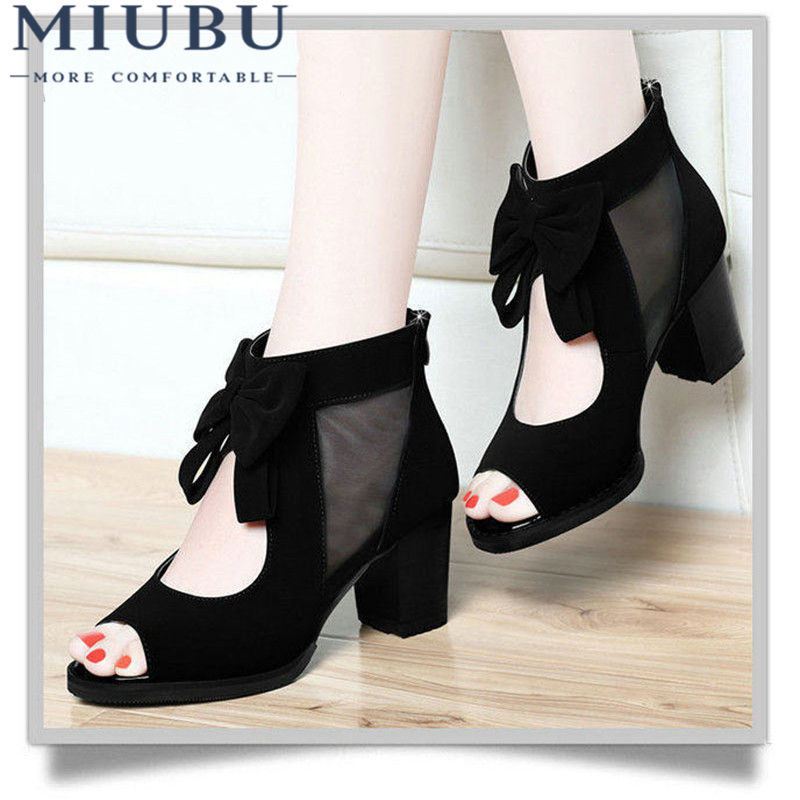 MIUBU Free Shipping Women's Summer Shoes Thick Heel Open Toe Boots High Heels Beaded Lace Cool Boots Gauze Cutout Sandals free shipping 2016 women s summer shoes thick heel open toe boots high heels beaded lace cool boots gauze cutout sandals
