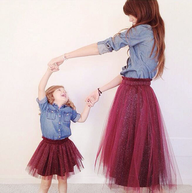 ins* new 2017 baby girl wine red color Yarn Pettiskirts Mother daughter spring autumn tutu skirts fashion free shipping