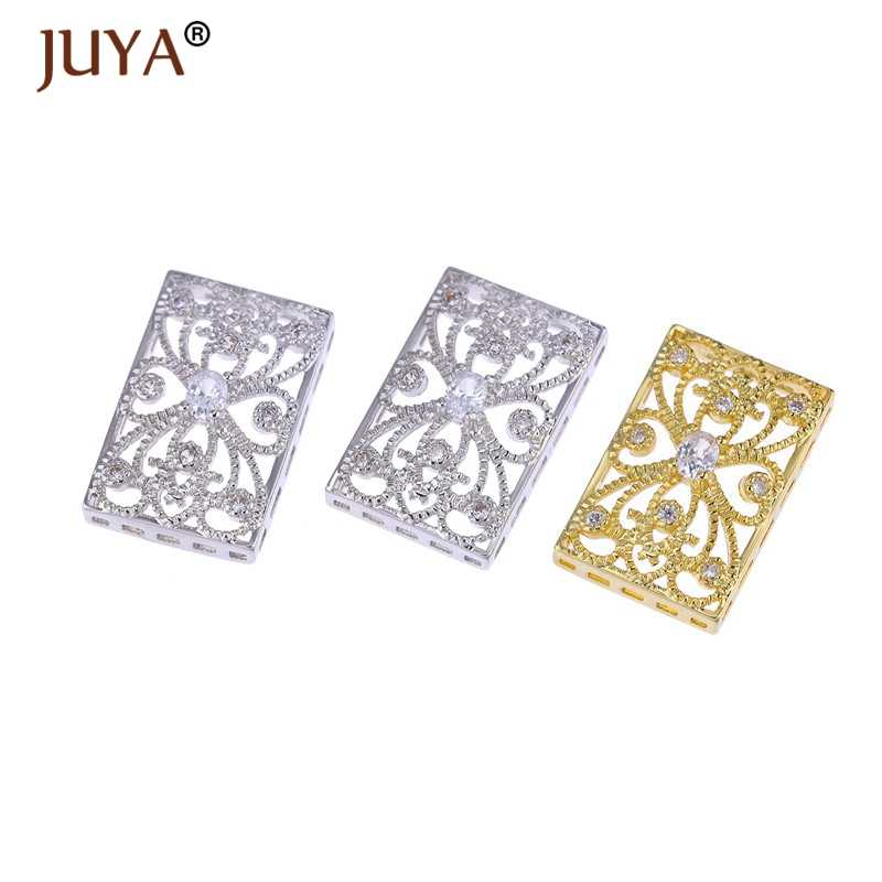 Luxury Zirconia Jewellery Findings Components Square Spacers For Jewelry Making DIY Pearl Bracelet Necklace Charm Connectors