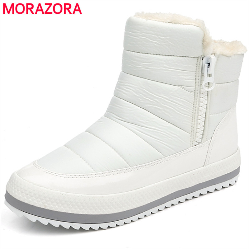 MORAZORA 2018 womens winter shoes round toe ankle boots thick fur zipper fashion platform boots keep warm snow boots female gdgydh 2018 fashion new winter shoes platform warm fur snow boots women lacing round toe shoe female wedges ankle boots female